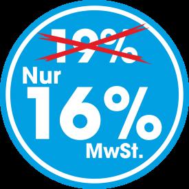 Aufkleber MWST 16% Rund