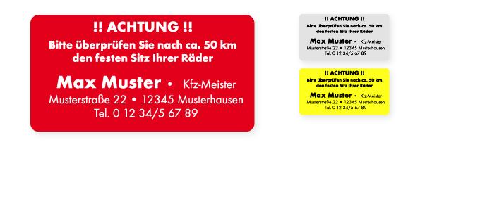 Nach 50 km Radschrauben prüfen 65x35 mm