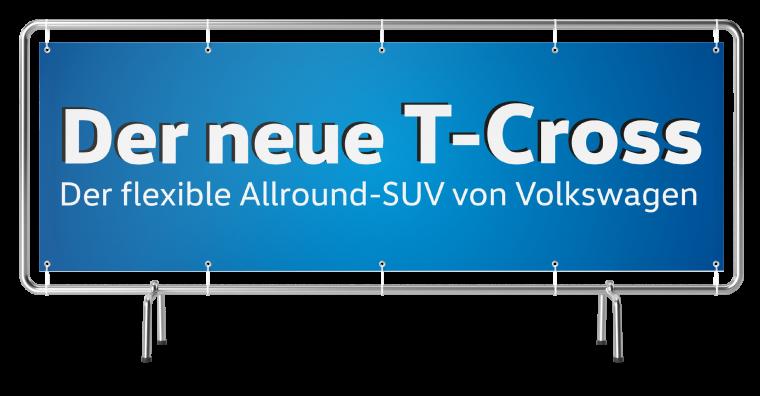 """Werbebanner """"VW T-Cross"""" 4000 mm"""